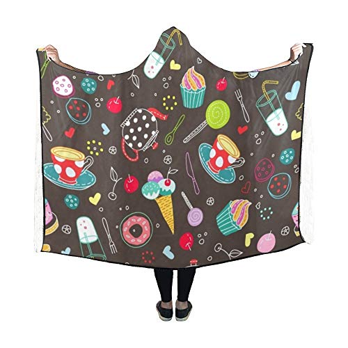 Zemivs Mit Kapuze Decke Sweets Blanket 60x50 Zoll Comfotable Hooded Throw Wrap