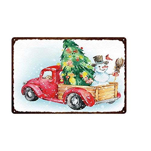 Aya611 Plaque Iron Painting Holiday Celebration Retro Decor Card With Cute Cats&dogs Wearing Christmas Hats Plaque Tin Painted Metal Fade-resistant Tin Sign 20cmx30cm 6