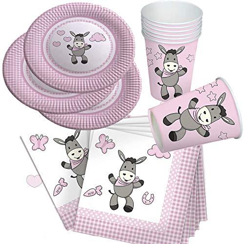 Neu 2019: 37-teiliges Party-Set * SÜSSER Esel * für Baby-Girl-Kindergeburtstag mit Teller + Becher + Servietten + Deko | Rosa Pink Mädchen Design zum 1. Geburtstag Luftballons Geburt