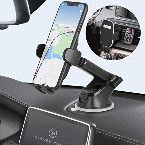 Wicked Chili 3-in-1 Auto Halterung kompatibel mit iPhone 12 Pro Max, 12 Mini, 12, SE 2020, 11, Galaxy S20+, Note 20 Ultra, Huawei & Xiaomi, für Armaturenbrett & Windschutzscheibe, mit Lüftungsclip