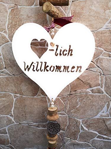 Mocca-Factory Türdeko/Hänger (Rot), Türdekoration Holz mit Herzlich Willkommen. Türhänger aus Naturmaterialien der modernen Art.