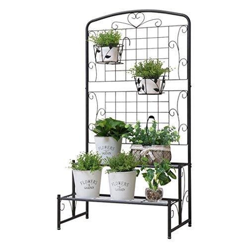 Flower Racks en acier au carbone en métal suspendus étagère à fleurs debout pour plante étagère de rangement de jardin pour intérieur ou extérieur balcon, rack de décoration en gris 75x45x142cm