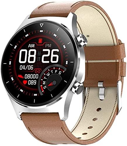 JSL Reloj Inteligente Frecuencia Cardíaca Presión Arterial Ip68 Impermeable Bluetooth Llamada Recordatorio-Negro+Silicona Mejor Regalo/Marrón+Cuero Marrón