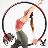 Hula Hoop Reifen Erwachsene Zur Gewichtsreduktion und Bauch Massage, Abnehmbarer Rostfreier Stahl Hoola Hoop Reifen für Fitness/Sport/Zuhause/BüRo, Einstellbares Gewicht, mit Bandmaß und Springseil