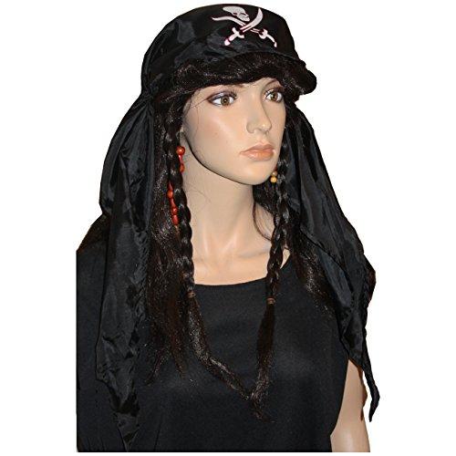 Dunkelbraune Damen Piratenperücke mit Kopftuch + Zöpfen Perücke Pirat Piratin