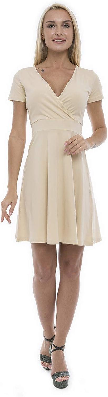 Lunarable Women's Cross Wrap A Line Summer Dress V Neck