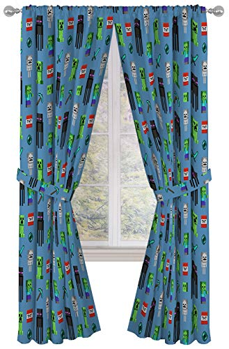 """Minecraft Monster Hunters 84"""" Inch Drapes - Beautiful Room Décor & Easy Set Up, Bedding - Curtains Include 2 Tiebacks, 4 Piece Set (Official Minecraft Product)"""