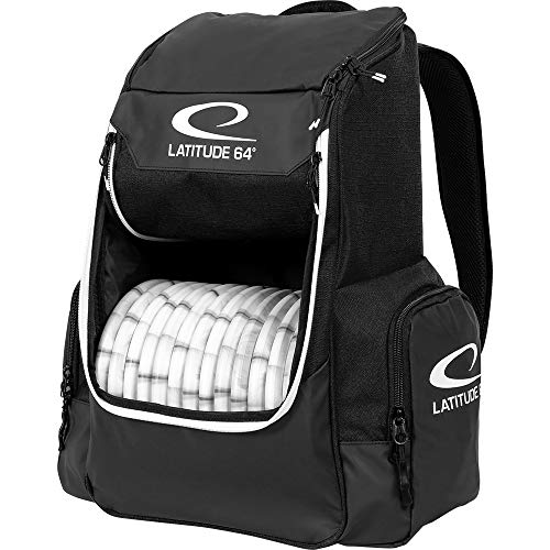 Latitude 64 Black Core Disc Golf Backpack | 20 Disc Capacity | Two Section Top Compartment | Two Side Pockets | Padded Straps and Back Panel | Frisbee Golf Backpack Bag
