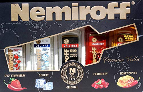 Nemiroff Premium Vodka 5 X 0,1 Liter Flaschen, Honey Pepper, Cranberry, Original, Delikat, Strawberry