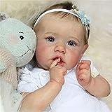 ZHANGZ 22'Doux Vinyle à la Main Nouveau-né Silicone poupées réel à la Recherche réaliste bébé Reborn poupée Enfant en Bas âge Fille poupée pour Enfants de 3 Ans,Blueeyes