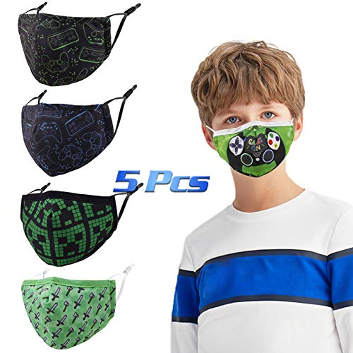 Gyothrig Kids Reusable Face Mask with Adjustable Ear Loops, Black Funny Designer Breathable Cute Washable Fabric Childrens Toddler Youth mascaras para niños, Madks Facemask for Girl Boy Children Gift