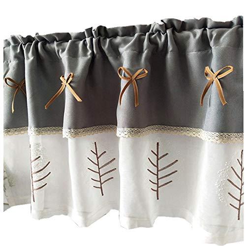 Keuken Gordijnen Korte Gordijnen Borduurwerk Half Gordijn Linnen Voile Off-White Semi Sheer Decoratie Noordse Landelijke Stijl