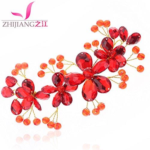 Kopf Blume Blume Braut Haarschmuck Kopfschmuck rot Hochzeit Karte Hochzeit Koreanisch Hochzeit Zubehör Braut rot Perlen