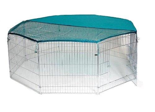 Bunny Business - Gabbia a 8 pannelli con rete di sicurezza, 139,7x 139,7cm, extra large