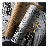 SONGLOU 食品グレードグリース紙パンのサンドイッチバーガーフライドポテトラッパークッキーOilpaper 8メートルパーチメント紙ベーキングツールを調理 (Color : A Set)