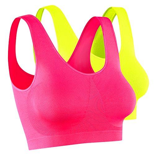 Daisan 2 x Damen Sport Top, Größe M, neon pink + neon gelb