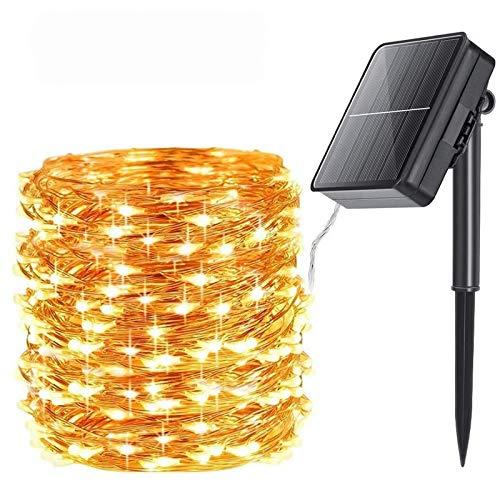 Qedertek Solar Lichterkette Aussen, 24M 240 LED Solar Kupferdraht Lichterkette, 8 Modi Wasserdicht Solarlichterkette für außen, Solar Lichterkette außen für Garten, Party, Balkon, Bäume (Warmweiß)