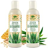 Amazing Aloe Vera Eczema Psoriasis Shampoo and Conditioner Set with Manuka Honey - Sulfate Free, Anti Dandruff, pH Balanced - Soothing Natural Relief for Dry Itchy Flaky Scalp, Damaged Hair