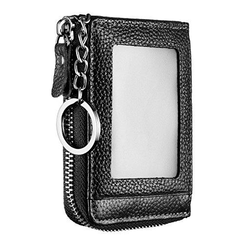 Genuine Leather Zipper Credit Card Wallet with ID Window Keychain RFID Blocking (Black)
