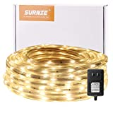 SURNIE Rope Lights Outdoor 50ft Dimmable Waterproof Led Rope Lighting 3000K Warm White Led Rope Lights Cuttable Strip Lihgts Outdoor Yard Bedroom Patio Christmas Indoor