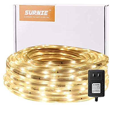 SURNIE Rope Lights Outdoor 50ft Dimmable Waterp...