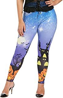 LONGDAY Womens Slim Fit Skinny Leg Print JeansHalloween Fashion 3D Digital Print Stretchy Leggings Multi-Colored
