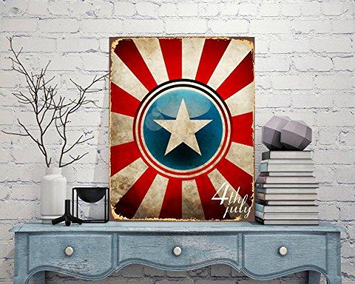 Lplpol, cartello in alluminio, Capitan America, cartello in metallo, motivo: supereroe e supereroe, arte capitana americana, arte 4 luglio, cartello in metallo, decorazione da parete, 10 x 14 cm