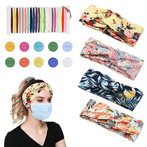 Sllaiss 4Pack Button Headbands for Women,Stretchy Sport Headwrap for Yoga Running Workout,Good Ear Saver Large Headbands for Women Nurse,Hairband for Healthcare Workers