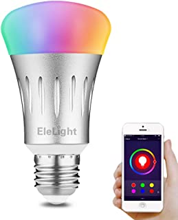 WONYERED WiFi Bulb 2-Pack E27 Smart Light Bulb 7W RGB Multicolor LED Light Bulb Wake up Lights Compatible with Smartphone Alexa Google Home with Timer Switch Scene Mode Remote Control Function