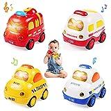 WolinTek 4PCS Coches de Juguete con Luces y Sonidos para niños,uguetes de Coche accionados por fricción por inercia,Camiones De Juguete Regalos para bebés,Early Educational Vehicles