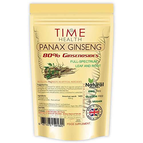 Panax Ginseng 80% Ginsenoside Vollspektrum Blatt und Wurzel – Ohne Zusätze (60 Kapseln)