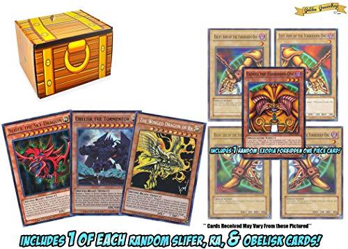 4 Yugioh Card Tournament Playable Slifer, Ra, and Obelisk Egyption God Card Set with 1 Random Exodia Piece Card! Includes a Golden Groundhog Treasure Deck Box!
