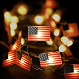 Hiboom 4th of July String Lights, American Flag String Lights 8 Modes LED Patriotic Fairy Lights for Independence Day Memorial Day National Day Decoration Indoor Outdoor (10 Feet 30 LEDs)