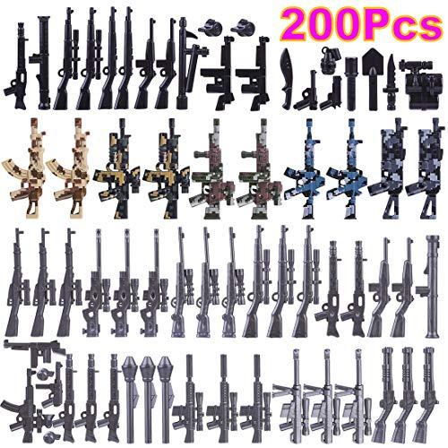Mecotecn 200Pieza Bloques de Construcción Militares con Custom Armas para Figuras de Soldados y Mini Figuras, Compatible con Lego