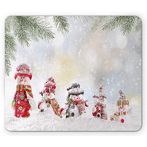 Weihnachtsmausunterlage, Darstellung mit Schneemann und fallendem Schnee-EIS gefrorener Blizz-ard themenorientierter Kunstdruck, Gummimousepad, Mehrfarben