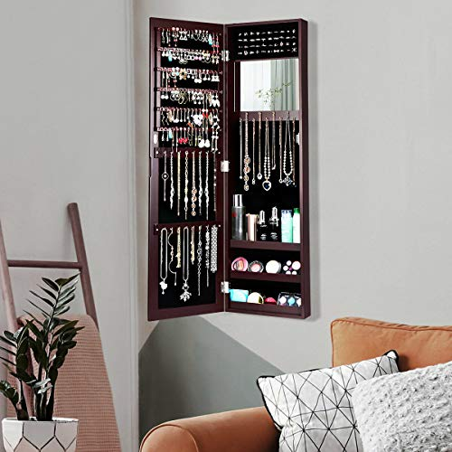 Kwantasmile Beauty First Wall Mounted Door Hanging Design Functional Powerful Storage Daughter Girlfriend Wife Birthday, Bedroom, Living Room Hallway Furniture, Mirrored Jewelry Cabinet Organizer