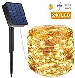 Solar Lichterkette Außen, Opard 24M 240 LED 8 Modi IP44 Kupferdraht Lichterketten für Garten, Hof,...