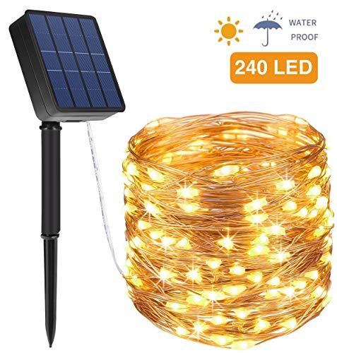 Solar Lichterkette Außen, Opard 24M 240 LED 8 Modi IP44 Kupferdraht Lichterketten für Garten, Hof, Party, Balkon, Hochzeit, Außen, Fest Deko(Warmweiß)