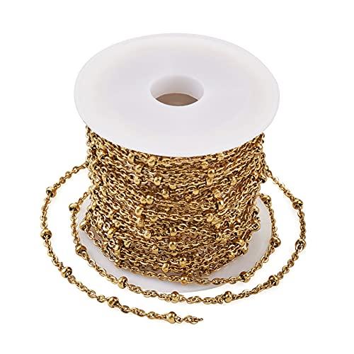 Beadthoven Chaîne satellite dorée de 10 m, placage sous vide en acier inoxydable 304 avec perles rondes soudées pour la fabrication de bijoux
