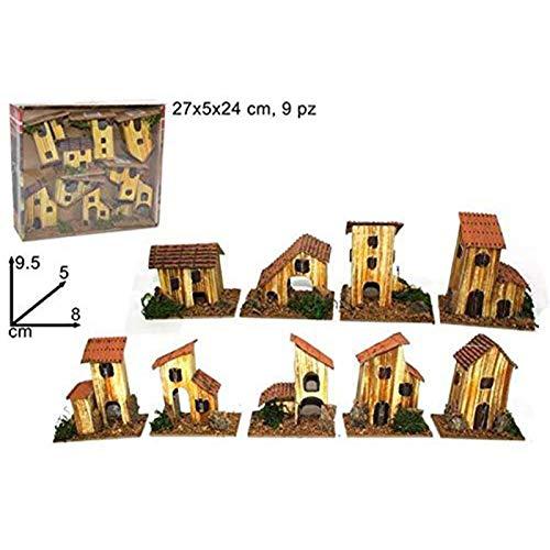Natale Set 9 Casette presepe Piccole Miniatura Box assortite 8x5x10 h. cm presepio Napoletano...