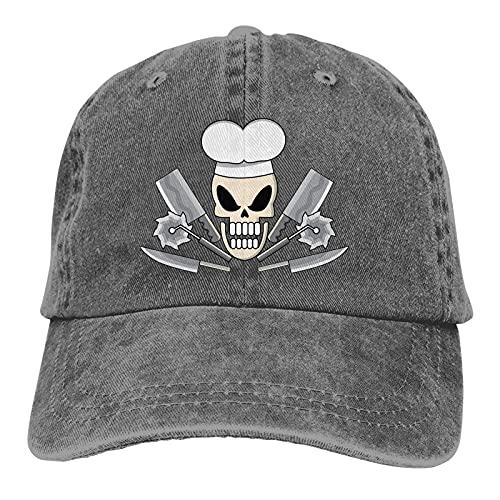 HUMYBEN Esqueleto Chef Armas Cuchillo Motosierra Unisex Sombrero Ajustable Sombrero Vaquero Retro Sombrero de Camionero