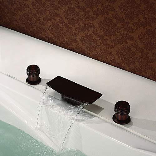 HNBMC Grifo para bañera, Orb Plano, Curvado, 3 Piezas, Grifo para Lavabo con Cascada