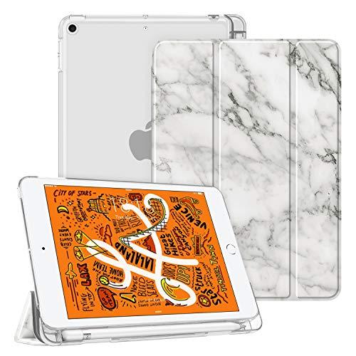 Fintie Hülle mit Pencil Halter für iPad Mini 5 2019 - Superdünne Superleicht Schutzhülle mit durchsichtiger Rückseite Abdeckung mit Auto Schlaf/Wach für 2019 iPad Mini (5. Generation), Marmor Weiß