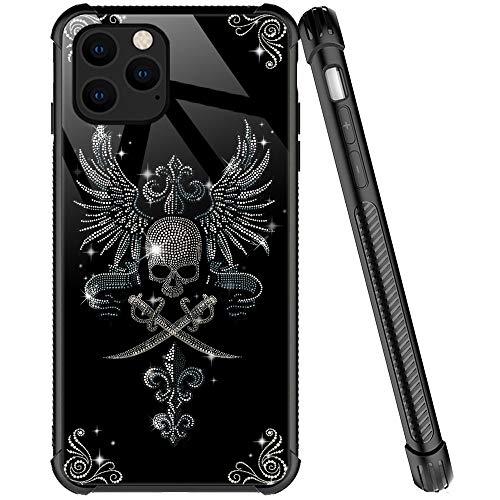 Kompatibel mit iPhone 12 Pro Max Hülle, Diamant-Totenkopf-Muster, kratzfeste iPhone 12 Pro Max Hüllen für Mädchen & Frauen, Viereck-Design, stoßfest, kompatibel mit iPhone 12 Pro Max