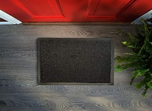Felpudo textil Flushy, con hilos brillantes, lavable, antideslizante, fácil de limpiar, para interior y exterior (negro, 90 x 150 cm)