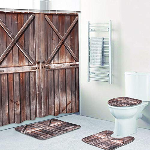 4 Piece Rustic Shower Curtain Sets with Non-Slip Rugs, Toilet Lid Cover and Bath Mat, Farmhouse Wooden Shower Curtain Country Barn Door Shower Curtain with 12 Hooks, Waterproof Shower Curtain