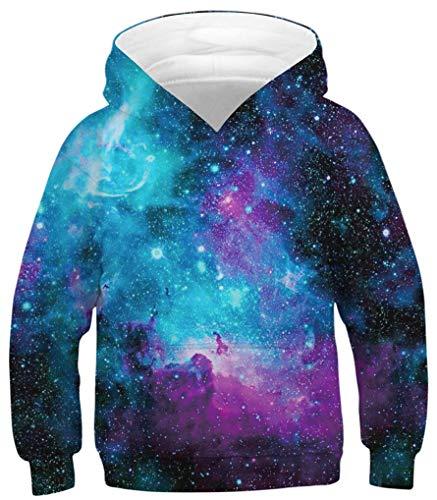 Ocean Plus Niños Sudaderas con Capucha Cool Pullover para Niños Niñas Adolescente Camiseta de Manga Larga (XS (Altura: 115-120cm), Galaxia Azul púrpura)