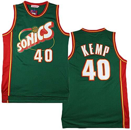 MMQQL Hombres NBA Jersey -Kemp # Mangas Baloncesto Supersonics 40 Top, Top Retro clásico de la Camiseta, de Malla Transpirable Sportwear,Verde,L:180cm/75~85kg