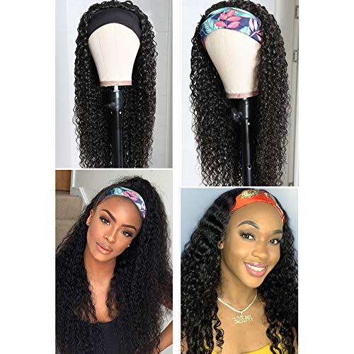 180% Density Headband Wig Kinky Curly Human Hair Wigs Original Queen None...