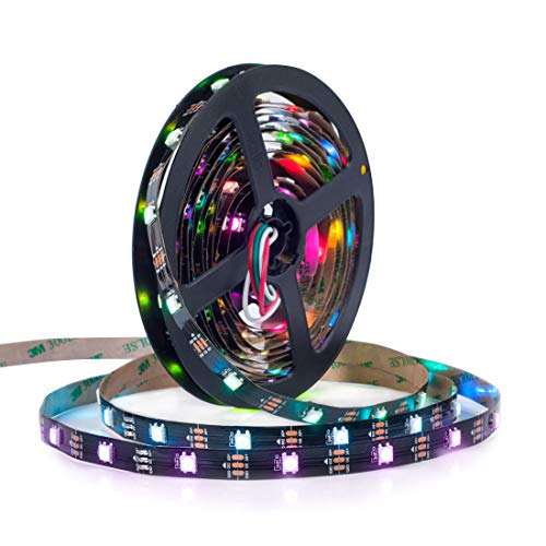 BTF-LIGHTING WS2812E Alambres de aleación ECO RGB 5050SMD Direccionable individual 16.4FT 30 píxeles/m 150 LEDs PCB negro flexible Full Color LED Píxel tira LED Sueño Color IP30 No impermeable DC5V